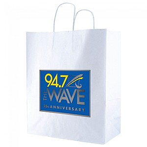 "White Kraft Shopping Bags   14"" X 16.25"""