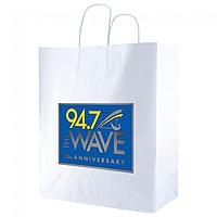 "White Kraft Shopping Bags   14"" X 16.25"""