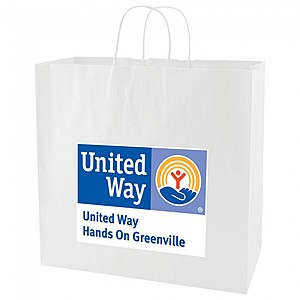 "White Kraft Shopping Bags   16"" X 15.75"""