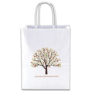 "White Kraft Shopping Bags   8"" X 10.5"""