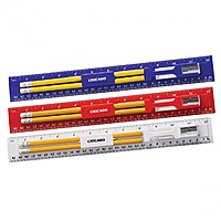 12 Inch Plastic Ruler Stationery Kit With Pencil, Eraser And Sharpener
