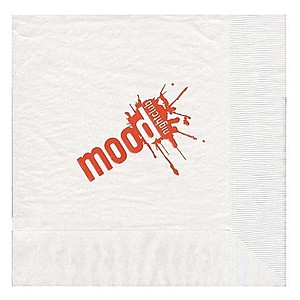 Foil Stamped 1/4 Fold White Dinner Napkin