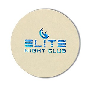 "Foil Stamped 45 Point, Natural, 3.5"" Round Coaster"