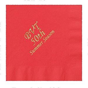 Foil Stamped Colored Dinner Napkins, 1/4 Fold
