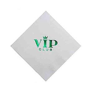Foil Stamped White Beverage Napkin