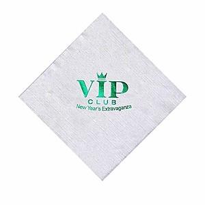 Foil Stamped White Beverage Napkin, Linen Embossing