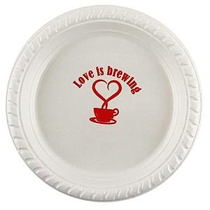 """Premium White Plastic Plate, 6"""" Round"""