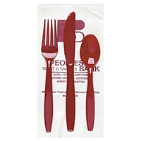 White 3 Ply Dinner Napkin 1/8th Fold, Knife, Fork & Teaspoon (White Or Colored Utensils)