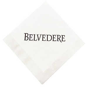 White Beverage Napkin, Coin Edge Embossing