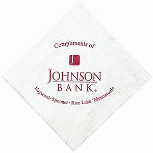 White Beverage Napkin, Linen Embossing
