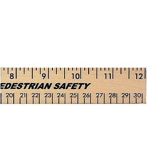 "12"" Clear Lacquer Wood Ruler   English & Metric Scale"