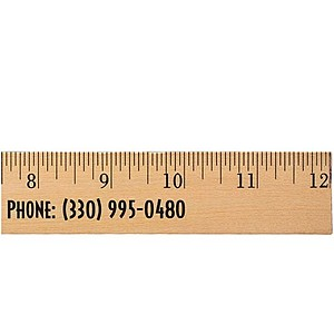 "12"" Clear Lacquer Wood Ruler   English Scale"