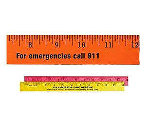 "12"" Fluorescent Wood Ruler   English Scale"