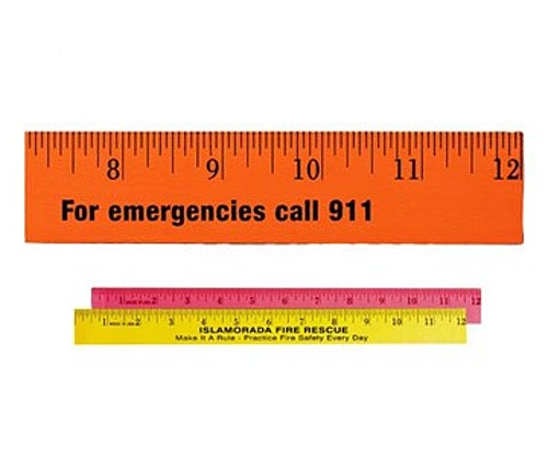 """12"""" Fluorescent Wood Ruler   English Scale"""
