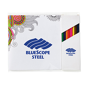 "Deluxe 7""X7"" Adult Coloring Book & 8 Color Pencil Set"