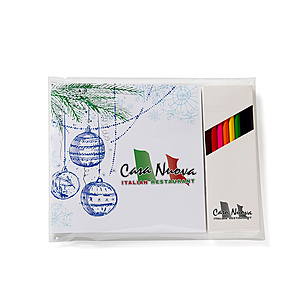 "Holiday Theme Deluxe 7""X7"" Adult Coloring Book & 8 Color Pencil Set"