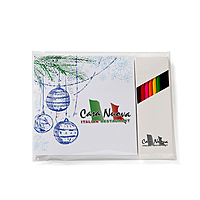 """Holiday Theme Deluxe 7""""X7"""" Adult Coloring Book & 8 Color Pencil Set"""