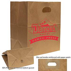 Kraft Die Cut Handle Bags 10.25 X 6.7 X 11.8