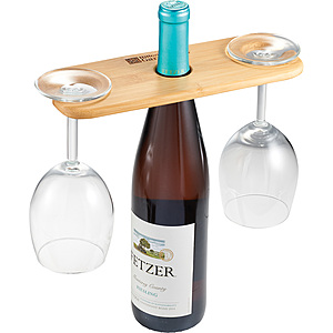 Bamboo Wine Bottle And Glasses Valet
