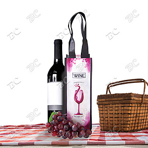 Fully Sublimated Non Woven Single Bottle Wine Tote