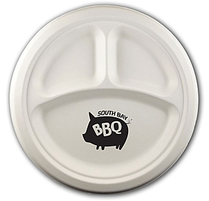 "10"" Round 3 Compartment Eco Friendly Paper Plate"