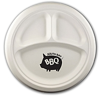 """10"""" Round 3 Compartment Eco Friendly Paper Plate"""