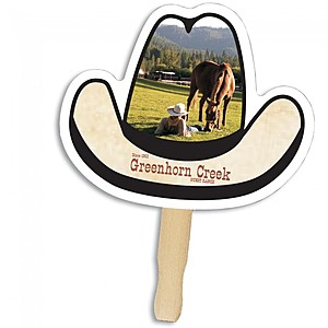 Cowboy Hat Shape Hand Fan, Full Color Digital