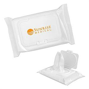 Moist Hand Wipes In A White Bag With Lid