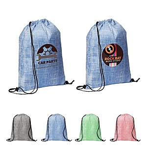 Denim Pattern Non Woven Drawstring Backpack