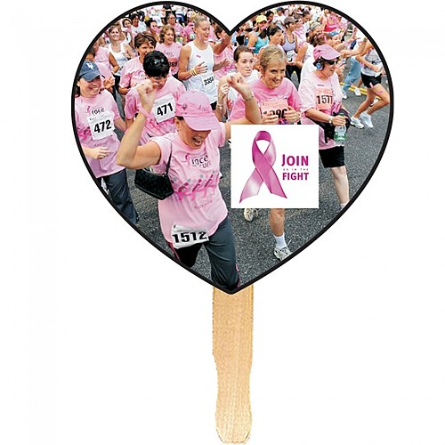 Heart Shape Hand Fan, Full Color Digital