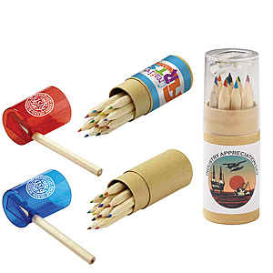 12 Color Pencil Set In Tube With Sharpener