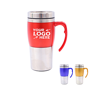 15oz 2 Tone Dual Wall Auto Insulated Mug With Handle
