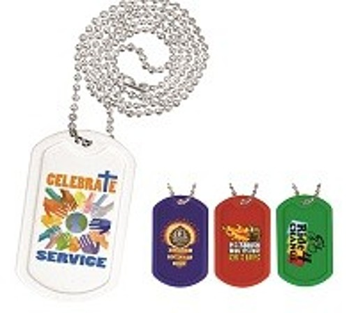 "Plastic Dog Tag , 23 1/2"" Ball Chain With Full Color Digital Imprinting"