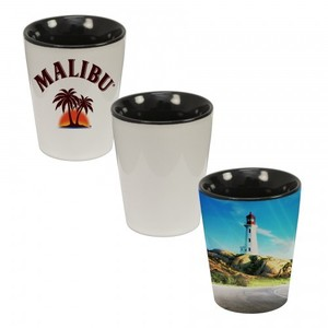1.5 Oz. Ceramic Shot Glass Two Tone Black